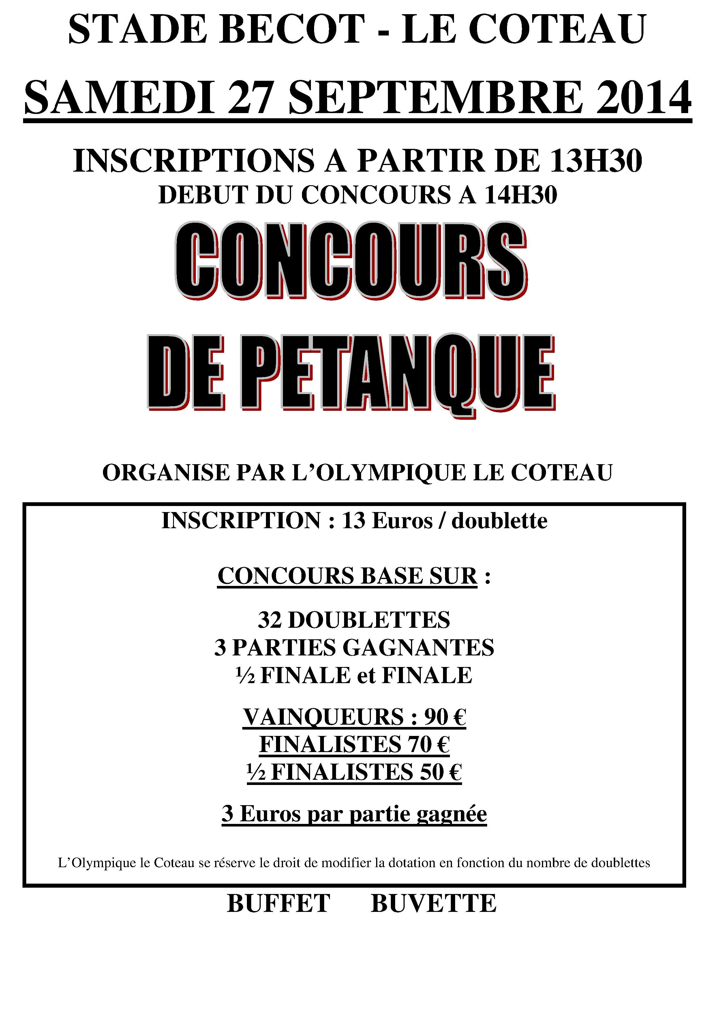 Concours de pétanque 2014 -Olympique Le Coteau