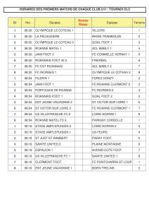Liste premiers matchs U11 - 1er mai 2018