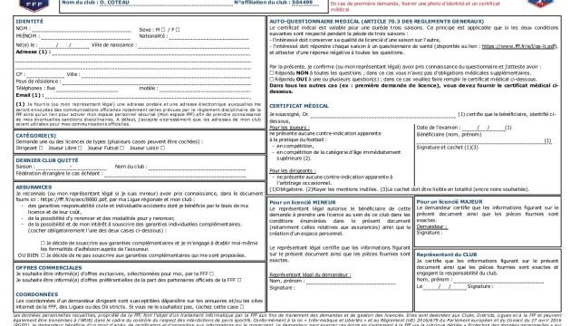 Demande licence 2019 simple